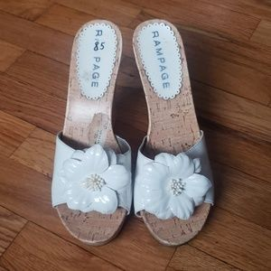 White Dyana Flower Slip On Wedges By Rampage